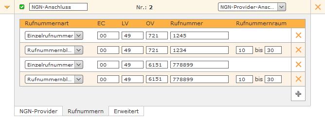 Beispiel für eine Rufnummernkonfiguration
